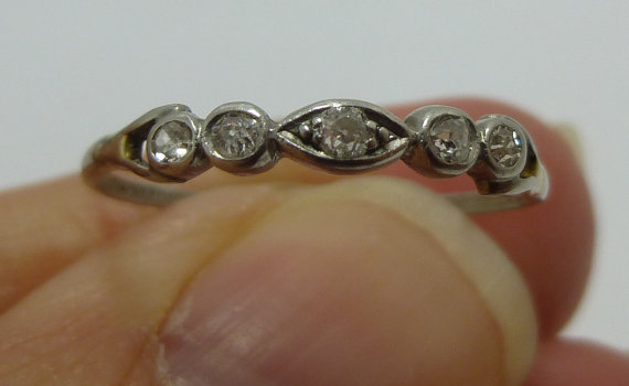 Mariage - Art Deco  Platinum Ring Vintage Jewelry Diamond Band European cut bezel set  Round Diamonds  Stacker band, egagement ring, wedding ring