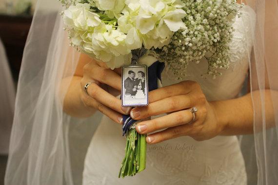 Mariage - Photo Frame Rectangle Bouquet Charm