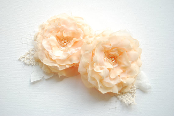 Mariage - apricot peach bridal flowers, weddings hair accessories, bridesmaids headpiece, bridal apricot hair clip, sash, corsage, bridal shoe clips