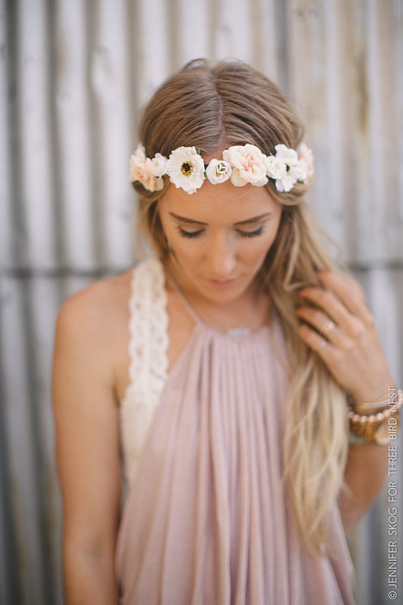 Boda - Romantic Floral BOHO Head Piece, Flower Crown, Boho Flower Headband, Wedding Headpiece, Bohemian, Headpiece, Pink/White Flowers