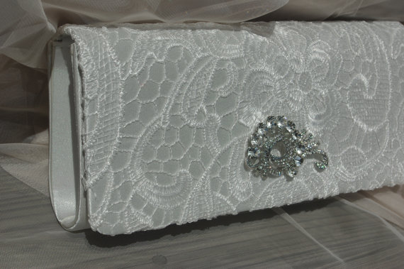 Mariage - Lace Bridal Purse - Wedding Handbag - Bridal Clutch - Crystal Clutch - White Crystal Bridal Clutch - Vintage Inspired Bridal Accessories