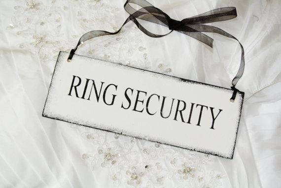 Hochzeit - RING SECURITY  Ring Bearer, wedding sign, ring bearer server flower girl vintage wedding shabby alternative  black and white