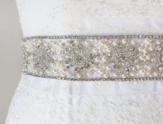 Hochzeit - Ready To Ship - ALLURA - Statement Vintage Inspired Bridal Crystal And Pearl Sash, Bridal Beaded Belt, Wedding Sash, Crystal Wedding Belts