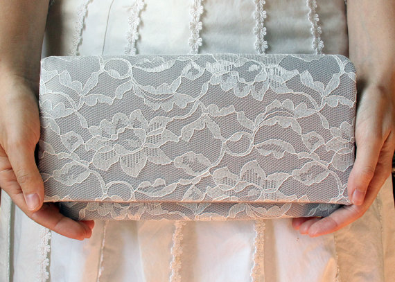 Mariage - The AMELIA CLUTCH - Gray Satin and Ivory Lace Clutch - Wedding Clutch Purse - Bridesmaid Bag