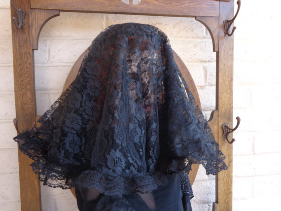 Mariage - Double Layer Widow Veil, Mourning Hat, Civil War Style, Dickens, ,Alternative Wedding, Punk, Goth, Edwardian