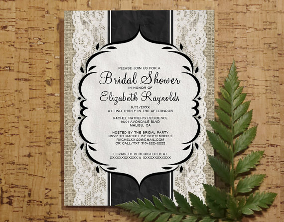 Black White Vintage Linen Burlap Lace Bridal Invitations Shower Wedding Party Invite Printable Digital Pdf Diy Template Printed