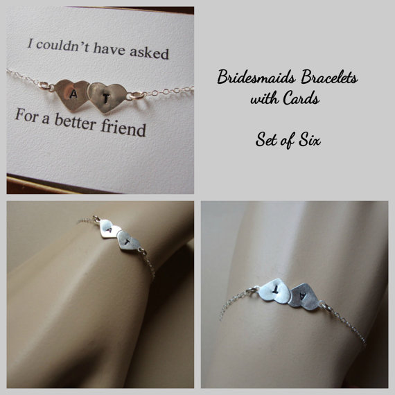 Hochzeit - Bridesmaids Personalized Bracelets with Cards SIX- Stamped Hearts - Best Friend, Bridal Party, Wedding Jewelry, Maid of Honor, Bridal Party