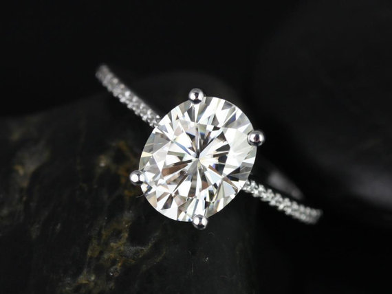 Mariage - Blake 10x8mm 14kt White Gold Oval FB Moissanite and Diamonds Cathedral Engagement Ring (Other metals and stone options available)