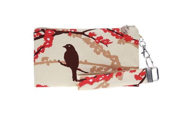 Hochzeit - Red floral clutch - bird wristlet - small purse - key fob & zipper pouch gift set for women - wedding bridesmaids clutch