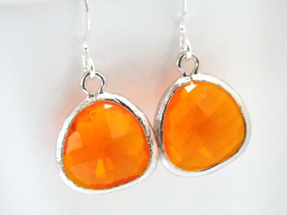Orange Earrings Gl Tangerine Silver C Bridesmaid Bridal Jewelry Gifts