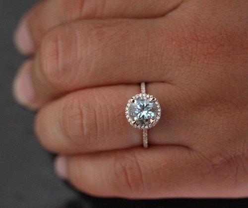 Rose Gold Round Enement Ring   Aquamarine Ring Engagement Ring In 14k Rose Gold With Aquamarine 8mm