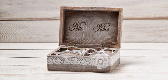 rustic ring bearer pillow box with lace and shabby chic flower rustic weddings ring holder. Black Bedroom Furniture Sets. Home Design Ideas