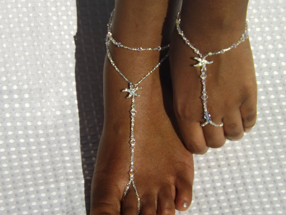 زفاف - Silver Rhinestone Starfish Foot Jewelry Wedding Starfish Barefoot Sandal Anklet