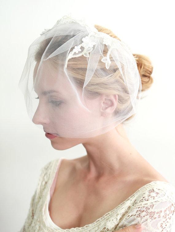 زفاف - Wedding veil, bridal veil, glitter veil, gold veil, blusher, face veil, mini veil - style 312