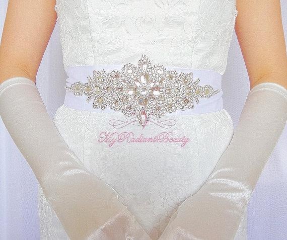 زفاف - Bridal Sash, Diamond Sash, Rhinestone Sash, Victorian Diamond Shape Handmade Sash Belt, Beaded Sash, Wast Length Sash, Wedding Sash SB0010