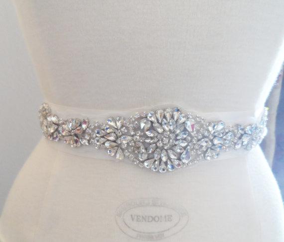 Mariage - Bridal Sash Wedding sash Bridal Belt ivory Sash Dress Sash Rhinestone sash Bridal accessories Wedding Accessories Gatsby Sash Flapper sash