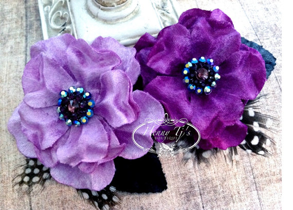 """Mariage - NEW: Prima Flowers Plume """"Orchid"""" 575540 Lilac and Plum Velvet Fabric Flower with Rhinestone center with leaves and Feathers."""