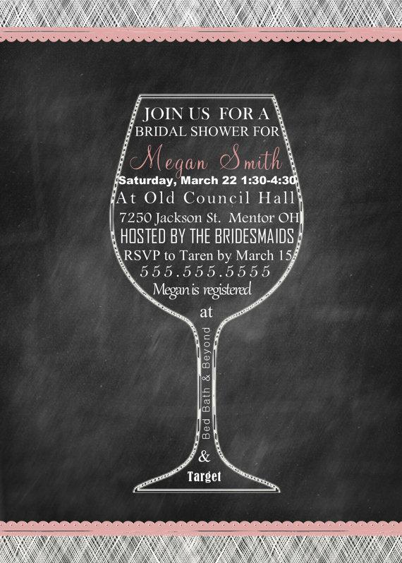 customized wine bridal shower bachelorette or birthday party