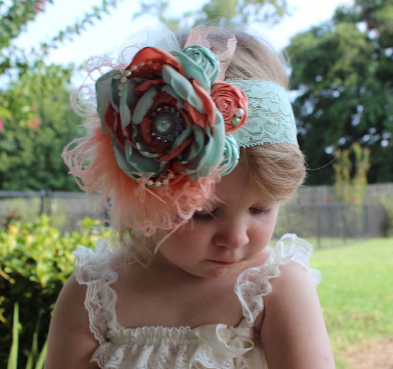 Mint Green and Peach Coral Couture-Baby Headband-Photo Prop-Wedding Headband -Couture Headband 2d6cef9742a