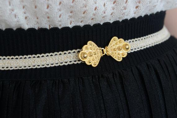 Vintage style ivory waist belt gold buckle wedding for Wedding dress accessories belt