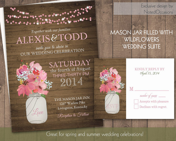 Mariage - Rustic Wedding Invitations with Mason Jar and hanging lights  - Rustic Wedding Invitation RSVP Set Pink Wildflowers Digital Printable File
