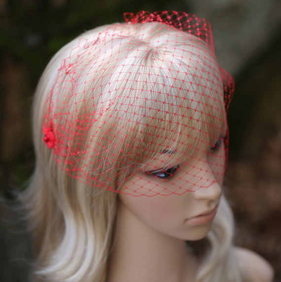 Red Birdcage Veil French Net Fl Embellishments Bridal Hair Accessories Wedding Jb0080