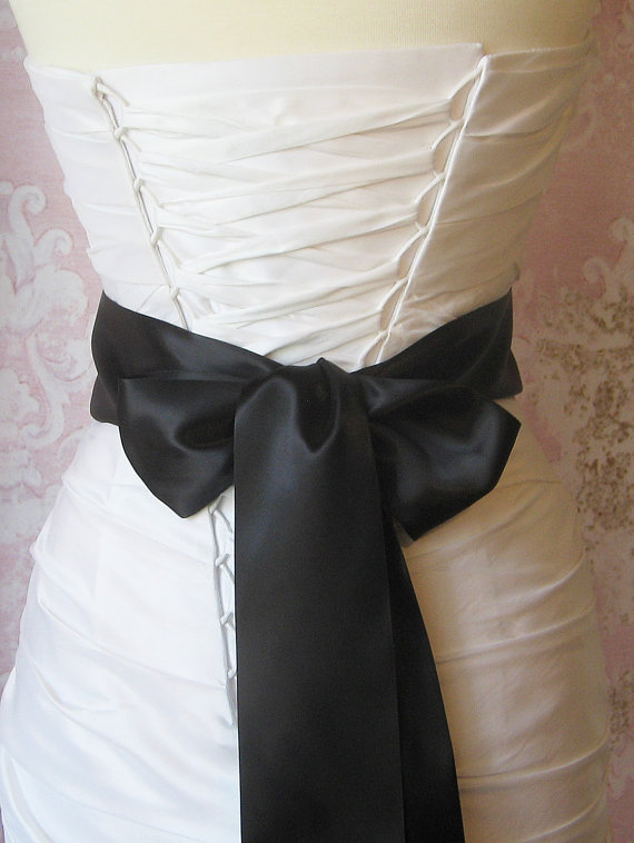 Mariage - Double Face Black Satin Ribbon, 3 Inch Wide, Ribbon Sash, Black Bridal Sash, Wedding Belt, 4 Yards