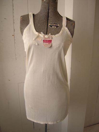 Mariage - Vintage 40s White Rayon Wife Beater Lingerie Tank Top Original Tags New Old Stock 36