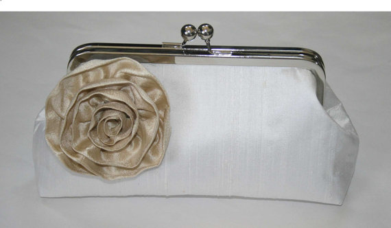 Mariage - Silk Dupioni Bridal Clutch with Blossom... customize your clutch to coordinate with your wedding colors