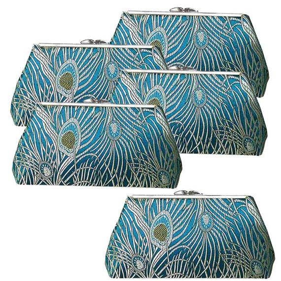 زفاف - Bridesmaids Clutch Bags, Peacock Teal Wedding - Set of FIVE