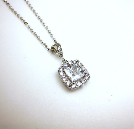 Mariage - wedding necklace bridal necklace wedding jewelry square princess cushion cut clear white AAA cubic zirconia pendant necklace