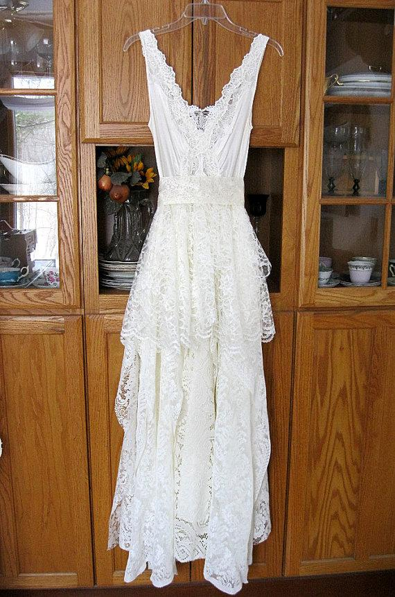 Hochzeit - Cream / Ivory tattered alternative bride bohemian boho hippie gypsy wedding dress, long, recycled / vintage laces, US size 10 Medium