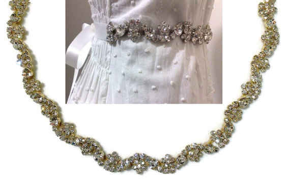 Mariage - Gold Bridal Sash, Woodland Wedding Sash, Rhinestone Crystal Belt, Floral Sash, Dress Jewelry,  ROXANNA