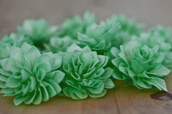 "Mariage - 10 3"" Emerald Wood Wedding Flowers, Bouquet Flowers, Wedding Flowers, Emerald Wedding, Flower Napkin RIngs"