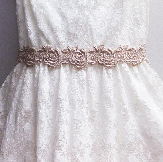 Mariage - Bridal Sash, Gold Bridal Headband, Lace Bridal Sash, Lace Bridal Hairpiece, Wedding Sash, Bridal Hair Piece, Gold Bridal Sash, Bridal Belt