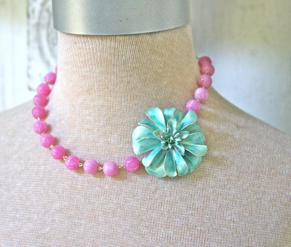Wedding - Aqua Teal Blue Vintage Enamel Flower Purple Glass Jade Bead Necklace - One of a Kind, Wedding,Bridal,Statement Necklace