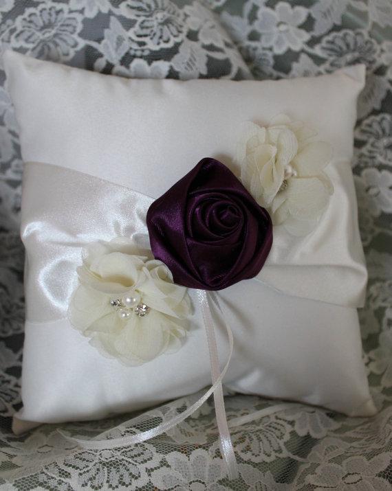 زفاف - Cream or White Ring Bearer Pillow with Eggplant Satin Flower and Accent Flowers with Pearls and Rhinestones-CUSTOM COLORS