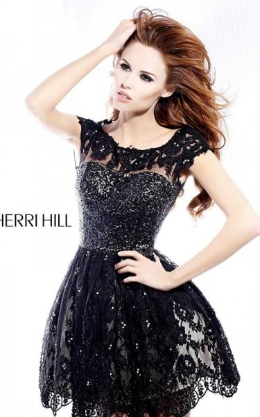 Authoritative point Sherri hill short black lace dress share