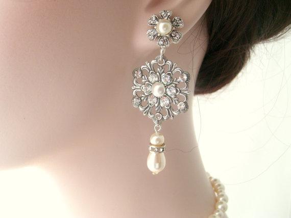 Wedding - Bridal earrings-Vintage inspired art deco earrings-Swarovski crystal rhinestone dangle earrings-Antique silver earrings-Vintage wedding