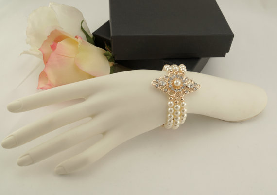Wedding - Bridal rose gold bracelet-Vintage inspired art deco Swarovski crystal bridal bracelet-Wedding jewelery-Bridal bracelet-Bridesmaid gift