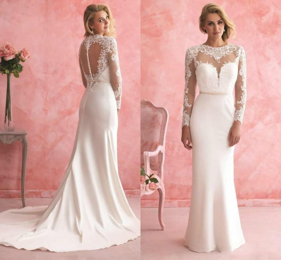 Vintage Long Sleeve 2015 Romantic Mermaid Wedding Dresses Sheer ...