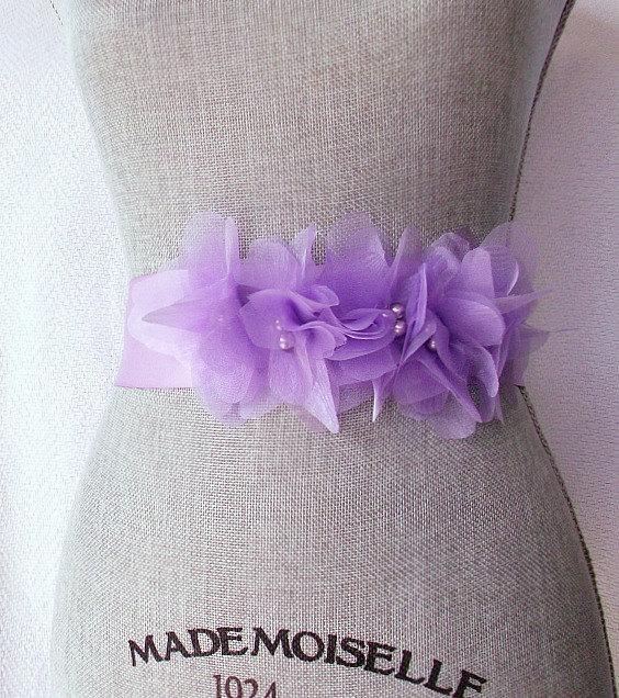 05b7646a79ccb Vera Wang Inspired Lilac Wedding Sash, Bridal Sash, Wedding Belt, Bridal  Belt -Lilac Organza Flowers