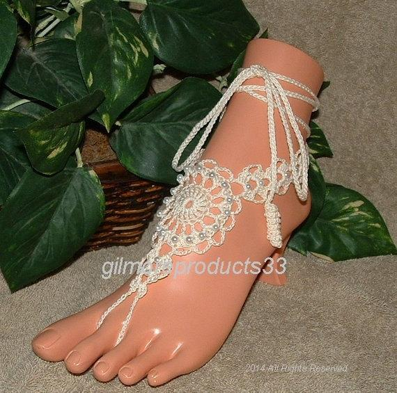 Hochzeit - Crochet barefoot sandals, barefoot sandles, foot jewelry, Beach Wedding, Anklet, yoga, pool shoes, footless sandals
