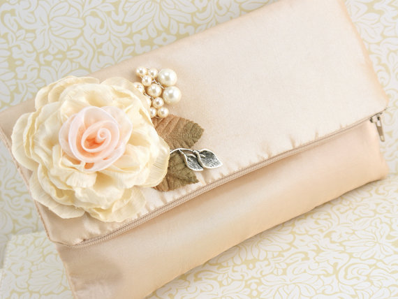 Hochzeit - Bridal Clutch Wedding in Champagne, Tan, Beige, Ivory, Silver and Peach with Taffeta and Pearls- Vintage Inspired