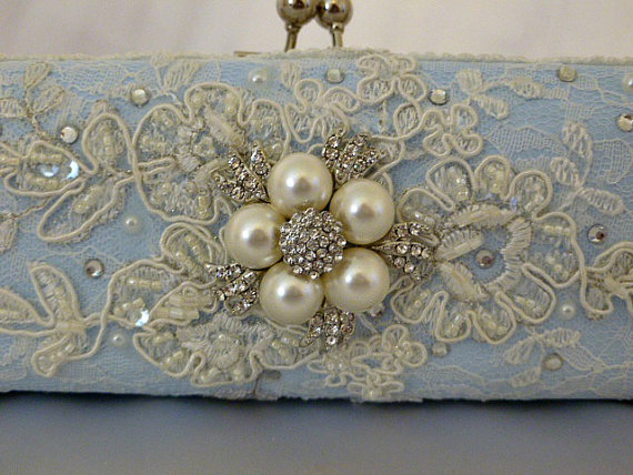 Wedding - Something Blue Lacey Wedding Clutch Bag .. vintage lace with Swarovski crystals and  pearls