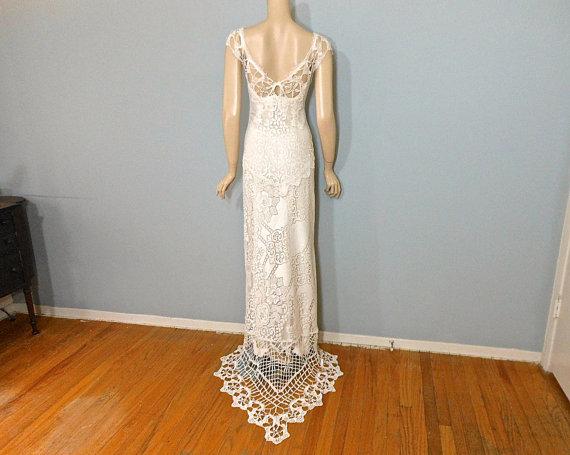 Boda - Hippie Wedding dress BOHEMIAN Wedding Dress CROCHET wedding Dress  Sz Medium