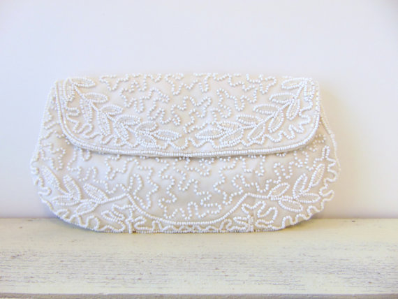 Wedding - Vintage Beaded Clutch, Beaded Vintage Purse, Ivory Bridal Clutch, Wedding, Bridal Accessory, WALBORG Vintage Clutch