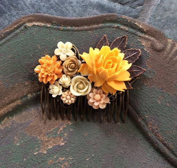 Yellow Wedding Hair Accessories Golden Orange Mustard Bridal Comb Brown Beige Gold Cream Flower Leaves Woodland Fl Headpiece Wr