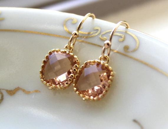 Mariage - Dainty Champagne Blush Earrings Gold Plated - Peach Bridesmaid Earrings - Wedding Earrings - Champagne Wedding Jewelry - Bridal Earrings