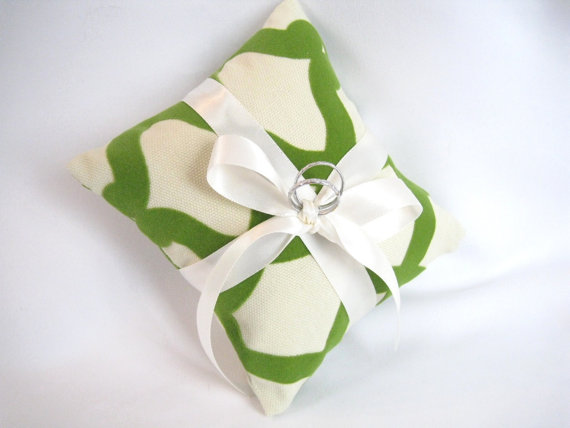 "Wedding - Ring Bearer Pillows,Green 6"" Ring Cushions,Destination Wedding, Holiday Wedding Ring Pillows,Wedding Pillow Faux Rings, Ready to Ship Bridal"